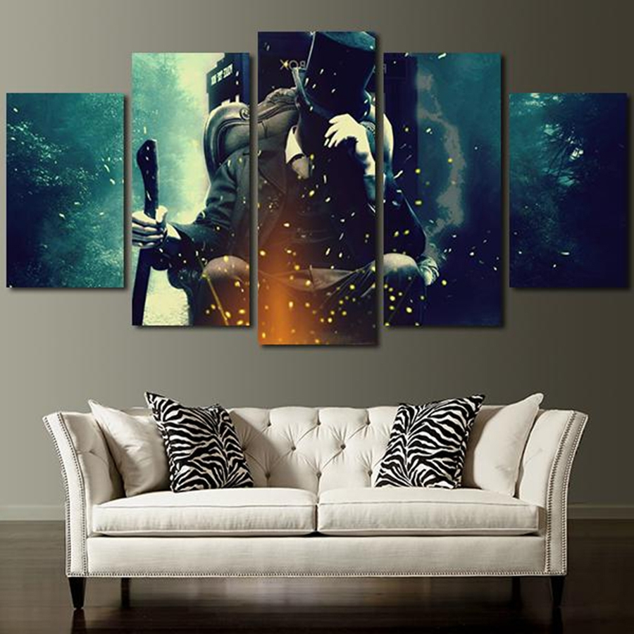 5 Panel Doctor Who Characters Wall Art Canvas In Painting Throughout Popular Doctor Who Wall Art (Gallery 4 of 15)