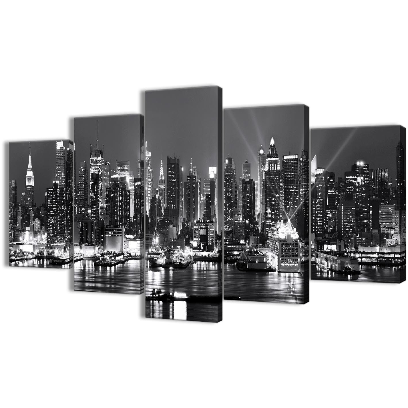 5 Panel Landscape Canvas Wall Art Prints – New York Hudson River Throughout Newest New York Wall Art (View 16 of 20)