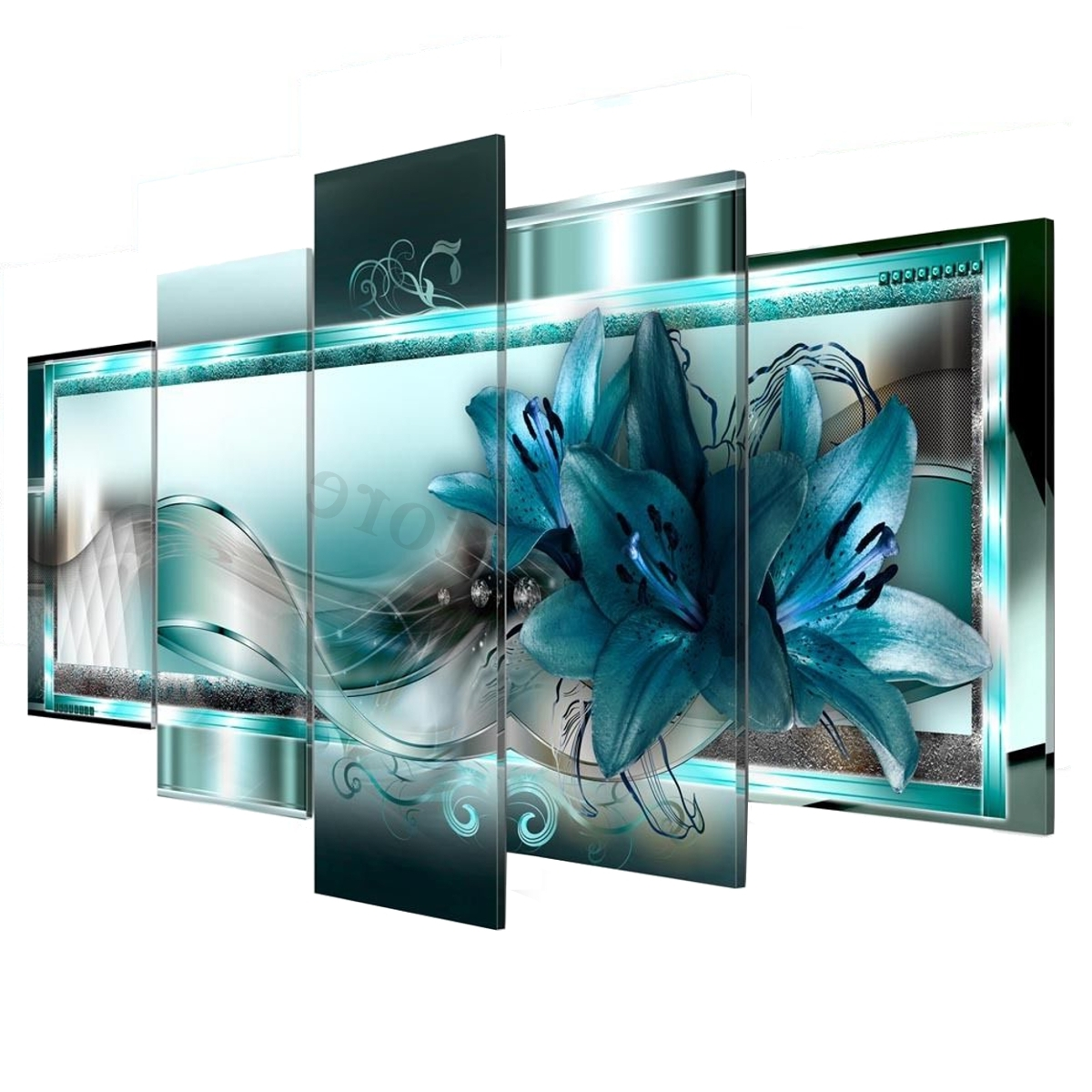 5 Panel Wall Art Inside Most Recently Released 5 Panel Canvas Print Modern Abstract Flower Picture Giclee Wall Art (Gallery 17 of 20)