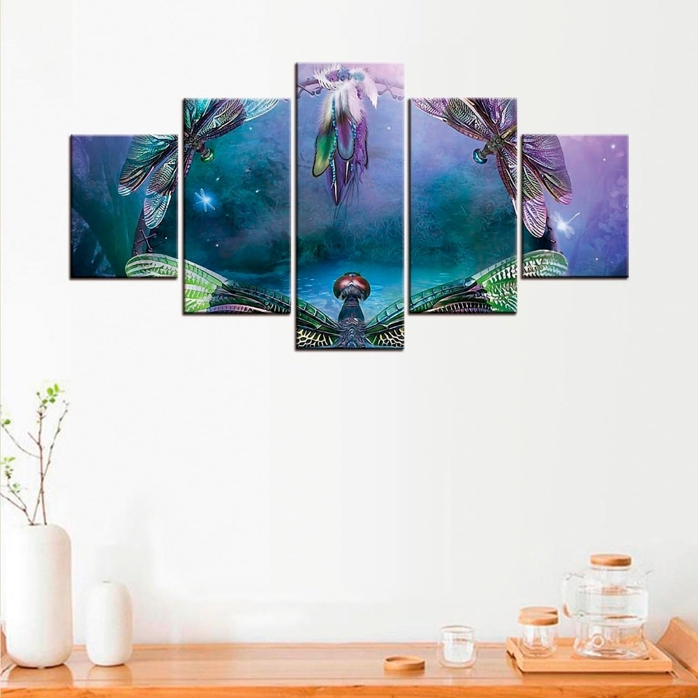 5 Pcs Dragonfly Canvas Poster Minimalist Art Canvas Painting Wall Within Well Known Dragonfly Painting Wall Art (View 4 of 20)