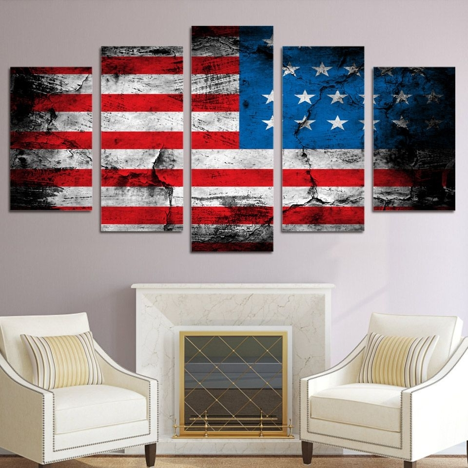 5 Piece Canvas Art American Flag Printed Wall Art Home Decor Canvas For Most Up To Date American Flag Wall Art (Gallery 15 of 15)