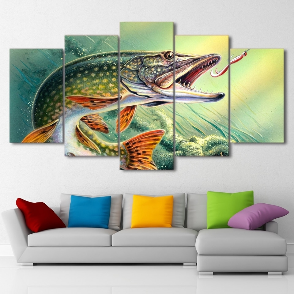 5 Piece Canvas Art Fishing Hooked Pike Fish Canvas Painting Wall With Regard To Most Recently Released Fish Painting Wall Art (Gallery 3 of 20)