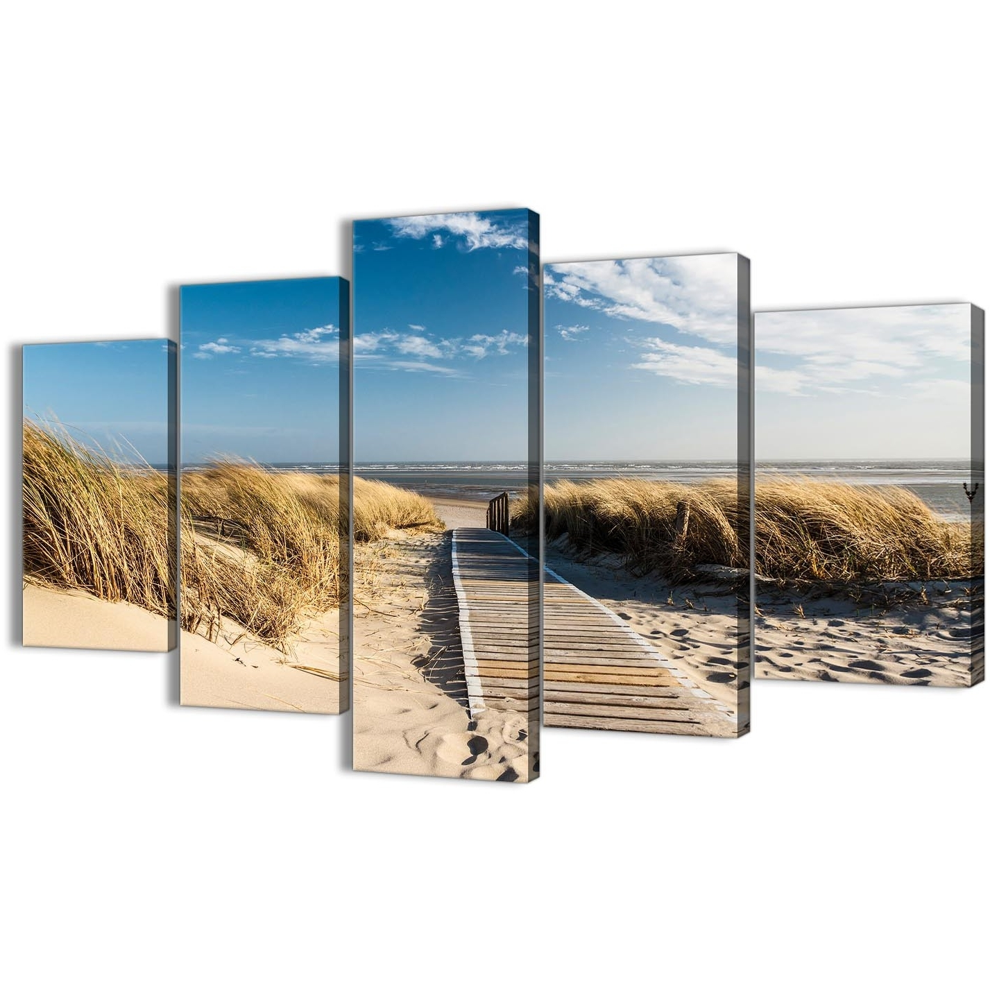5 Piece Canvas Wall Art For Most Current 5 Piece Beach Landscape Canvas Wall Art Pictures – Pathway To The (View 16 of 20)
