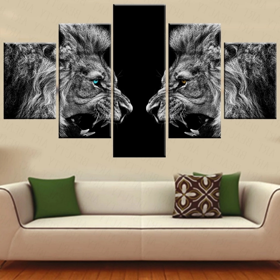 5 Piece Canvas Wall Art In Newest 5 Pieces Canvas Prints 2 Lions Animal Blue Eyes Canvas Painting (View 8 of 20)
