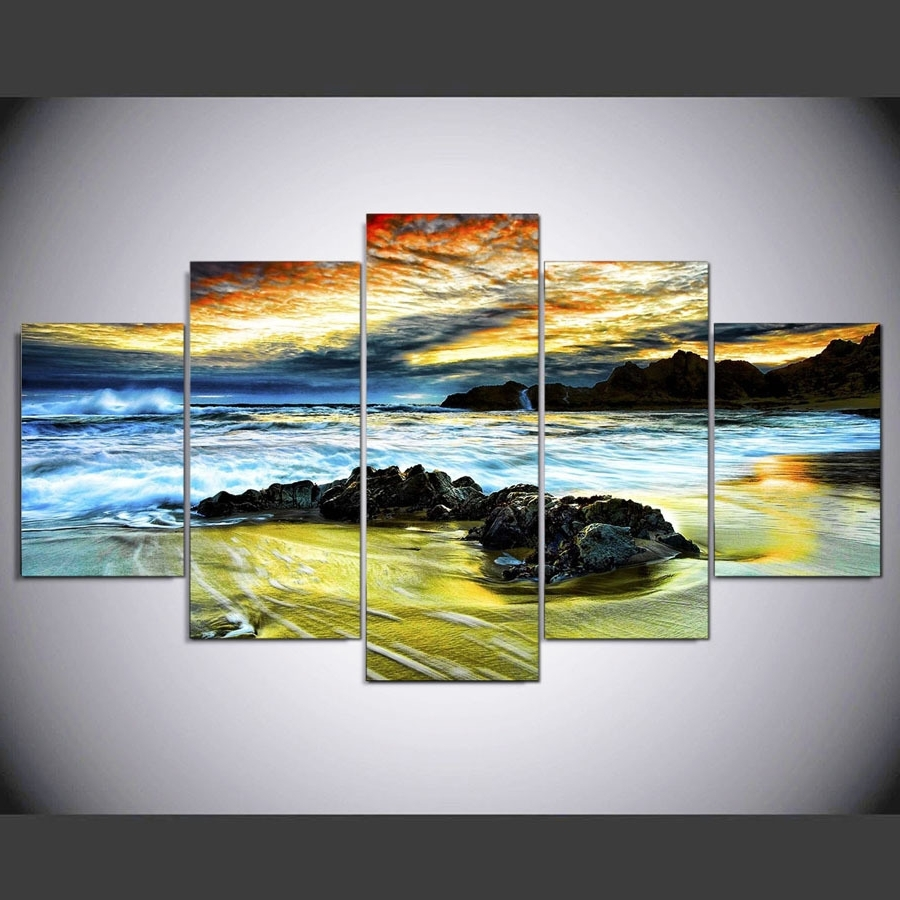 5 Piece Canvas Wall Art Inside Most Recent Framed 5 Piece Beach And Cloud Picture Print Poster Canvas Wall Home (View 14 of 20)