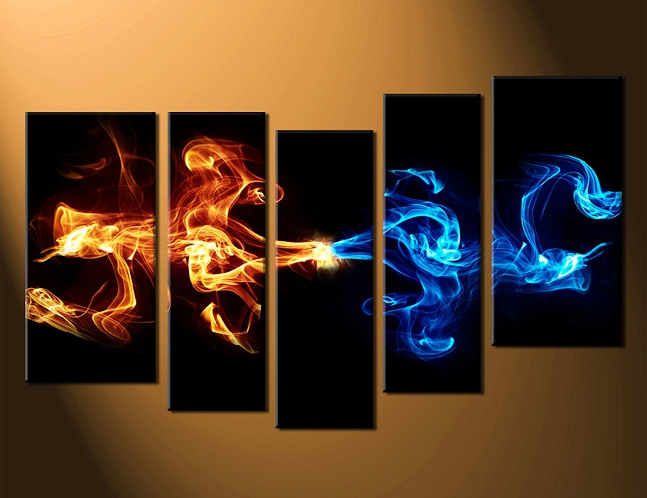 5 Piece Wall Art Inside Widely Used Abstract 5 Piece Smoke Canvas Wall Art » Gadget Flow (View 3 of 20)