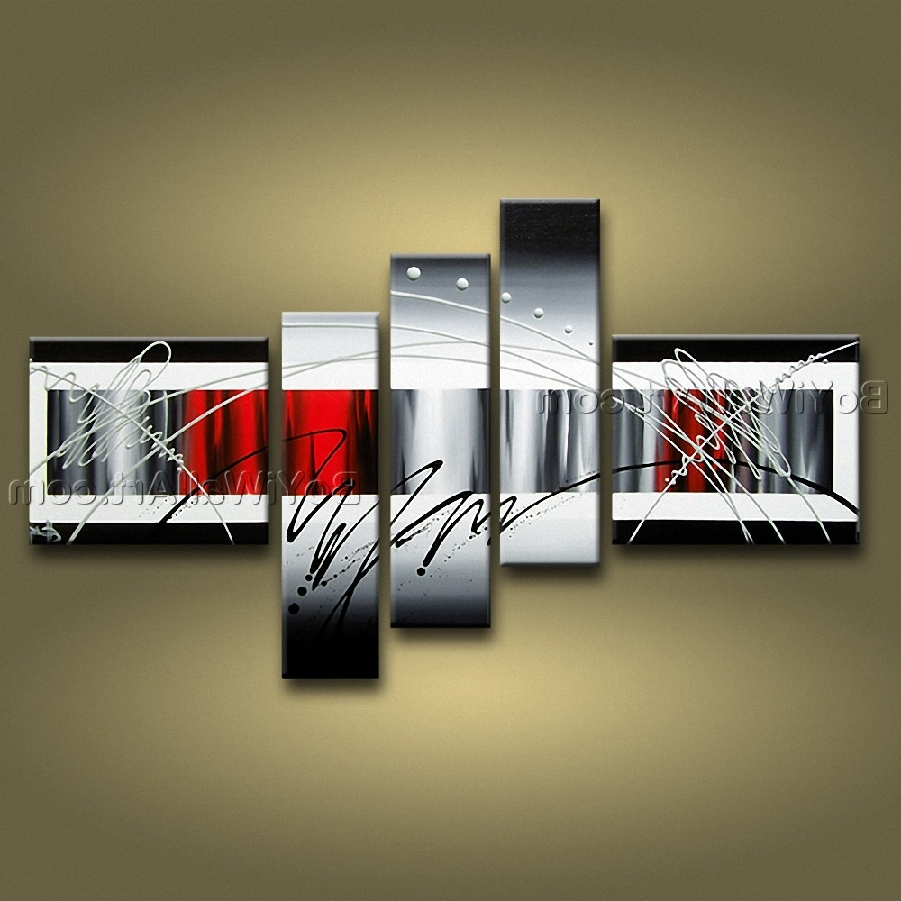 5 Piece Wall Art With Trendy Huge Hand Painted Abstract Beautiful 5 Piece Wall Art – Wall (View 7 of 20)