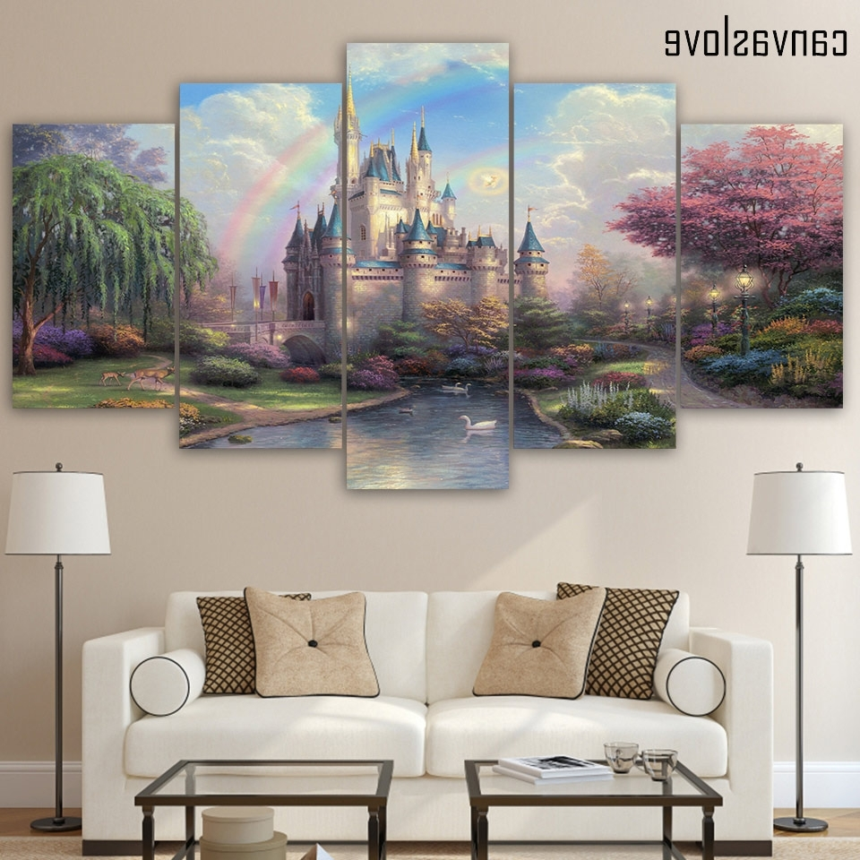 5 Piece Wall Art Within Current Hd Printed 5 Piece Canvas Art Cinderellas Castle Painting Wall Art (View 8 of 20)
