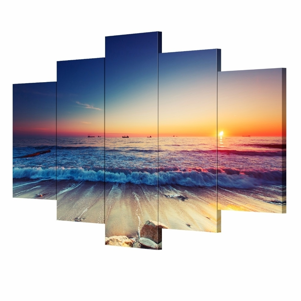 5 Pieces Modern Wall Art Canvas Unframed Modular Sunrise Panel Print Intended For Most Popular 5 Piece Wall Art Canvas (View 4 of 15)