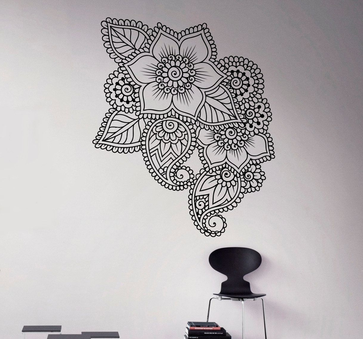 Abstract Flowers Mehndi Wall Vinyl Decal Henna Indian Ornament Wall In Famous Henna Wall Art (View 3 of 20)