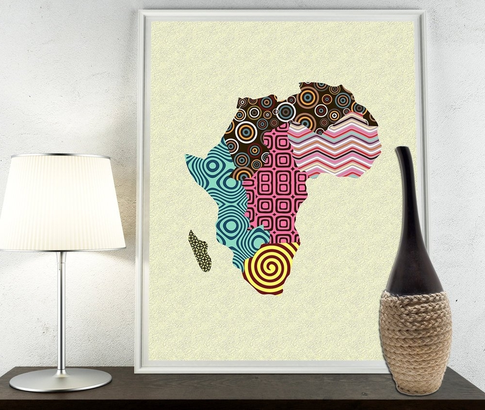 African Print Map Decor, African Wall Art, African Map Art, African In 2017 African Wall Art (Gallery 13 of 15)