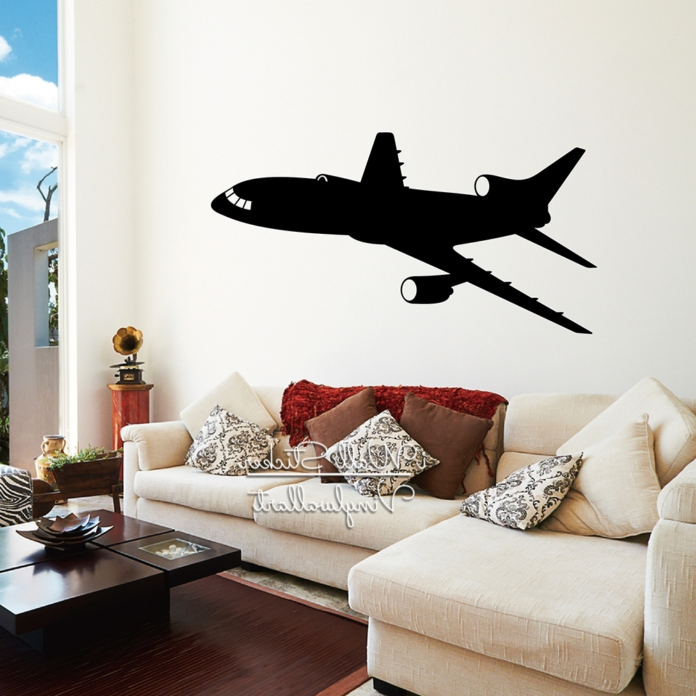 Airplane Wall Art In Latest Airplane Wall Sticker Modern Airplane Wall Decal Diy Modern Wall Art (View 4 of 20)