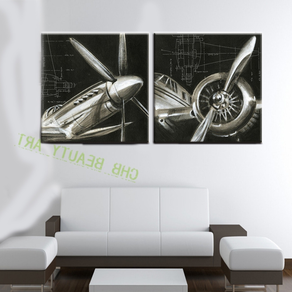Airplane Wall Art Regarding Favorite 2 Panels Vintage Airplane Paintings Abstract Picture Hd Printed (View 6 of 20)