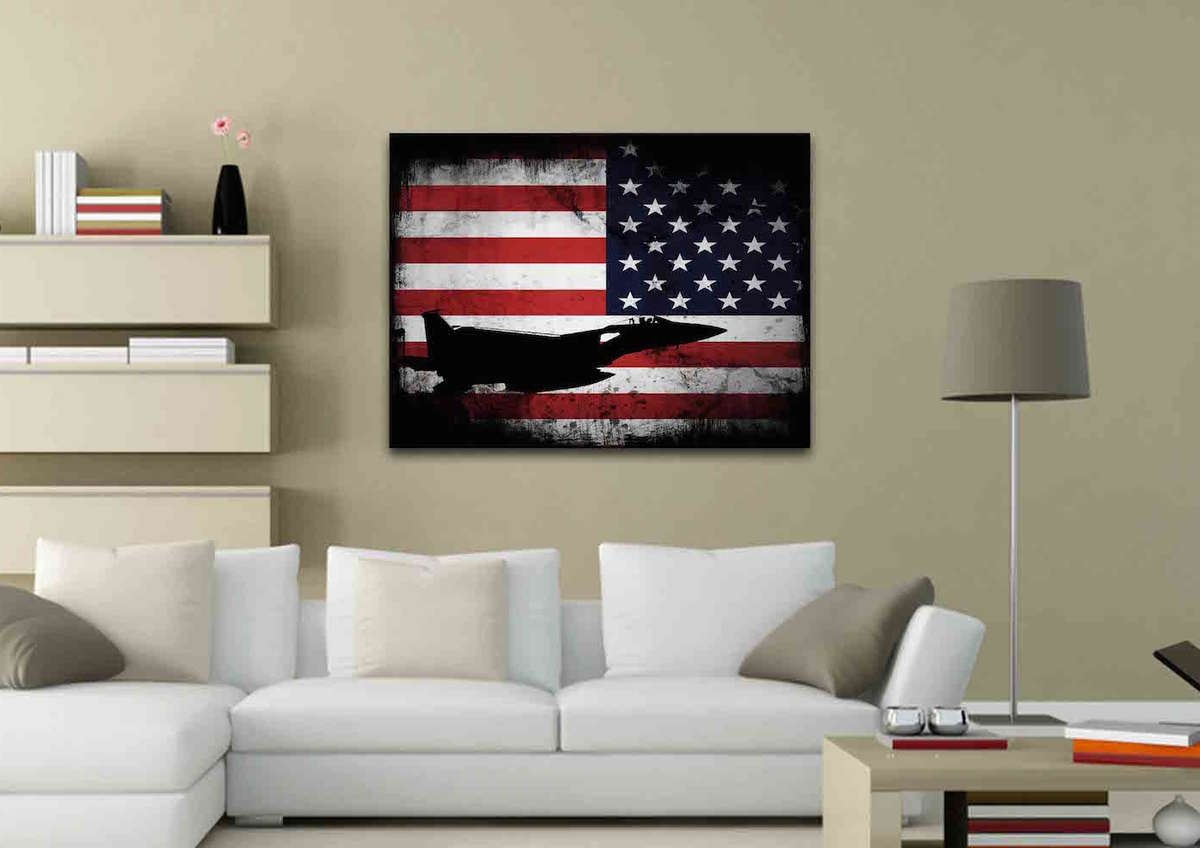 Airplane Wall Art With Well Known American Flag With Us Navy Airforce Jet Airplane Wall Art Canvas (View 7 of 20)