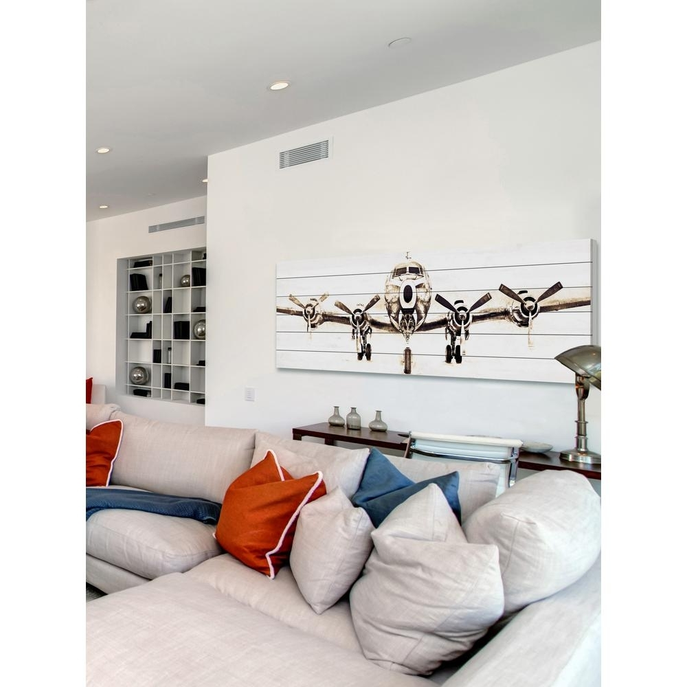 "Airplane Wall Art Within 2018 20 In. H X 60 In. W ""airplane""marmont Hill Printed White Wood (Gallery 1 of 20)"