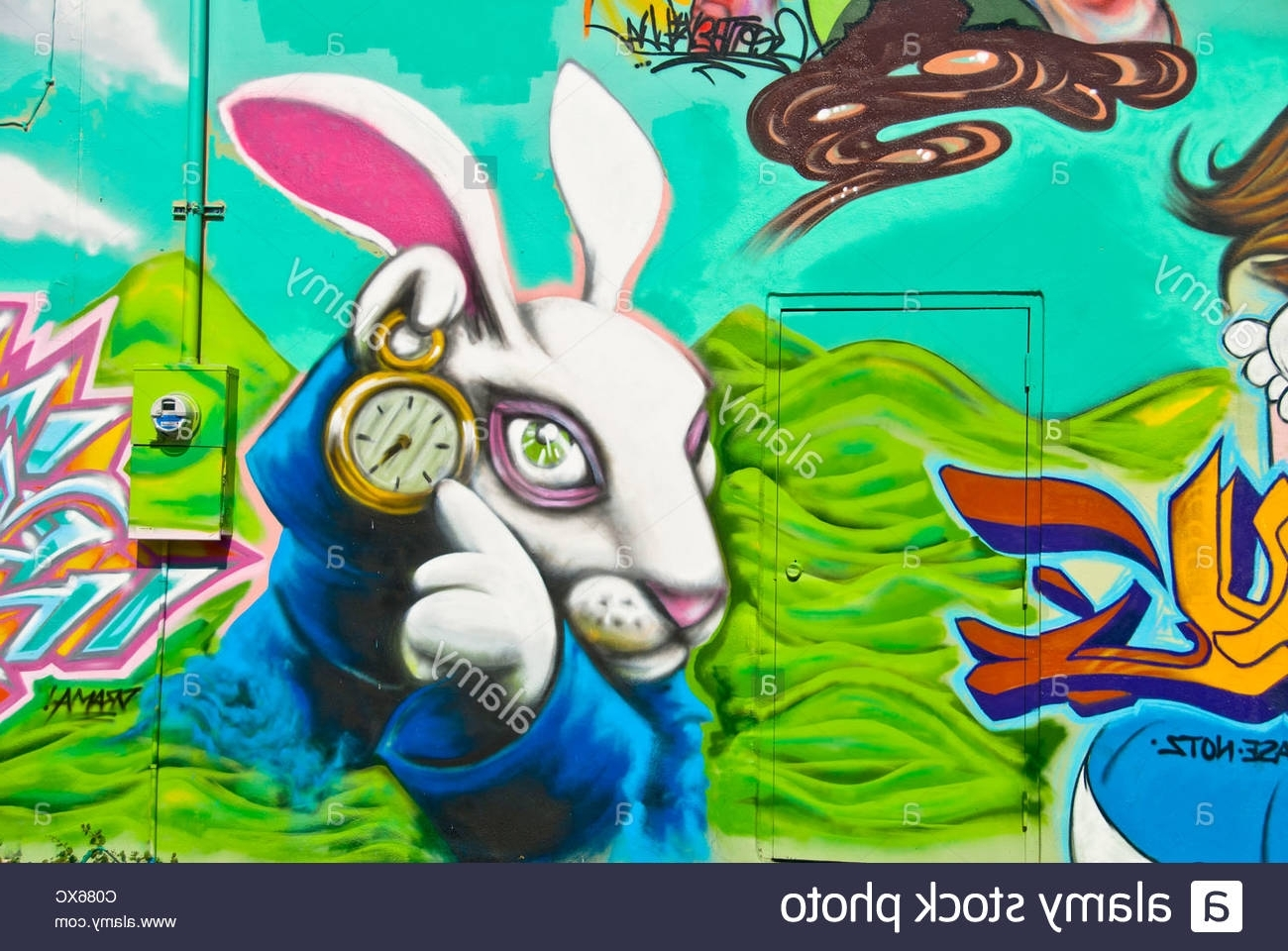 "Alice In Wonderland"" Graffiti Wall Art Mural Detail In Wynwood Art With Well Known Florida Wall Art (Gallery 11 of 20)"