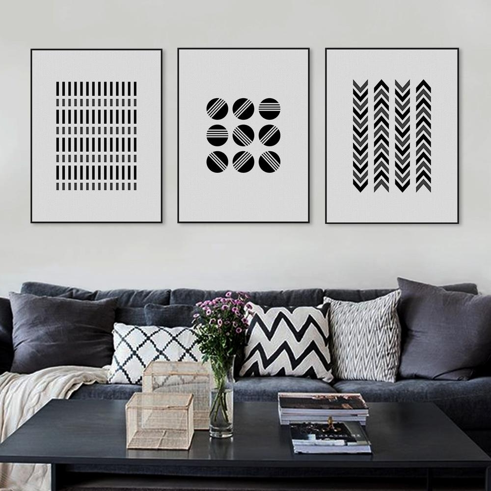Aliexpress : Buy Black White Modern Abstract Geometric Shape Throughout Most Popular Black And White Large Canvas Wall Art (View 2 of 20)