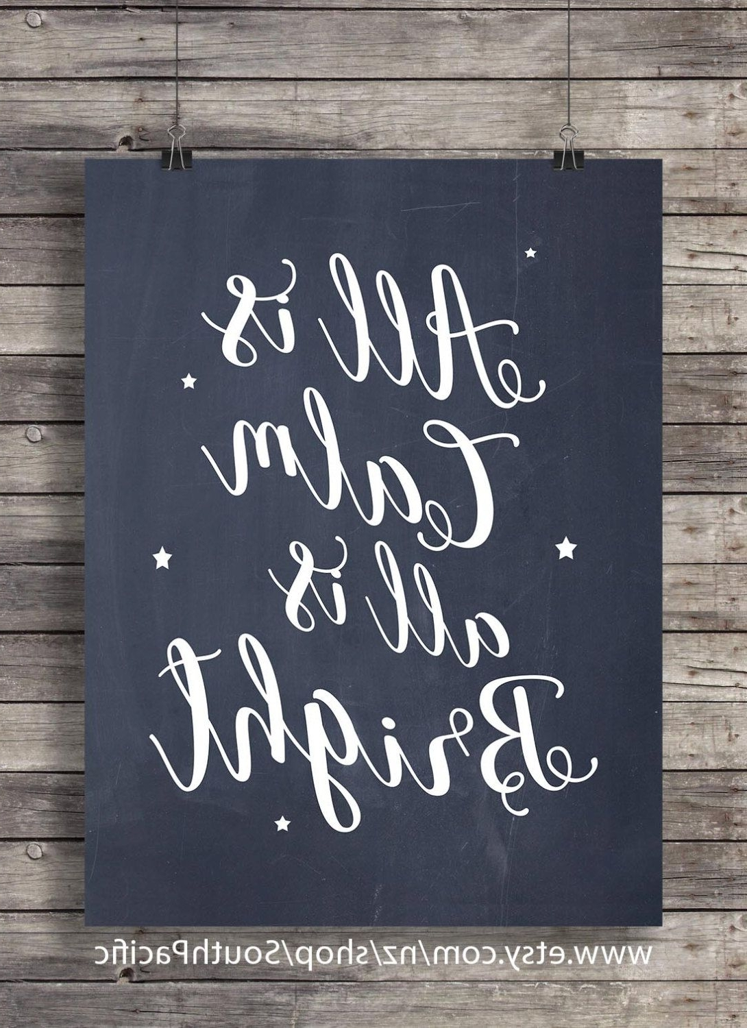 "All Is Calm, All Is Bright – ""silent Night"" Lyrics Chalkboard In Newest Chalkboard Wall Art (View 3 of 20)"