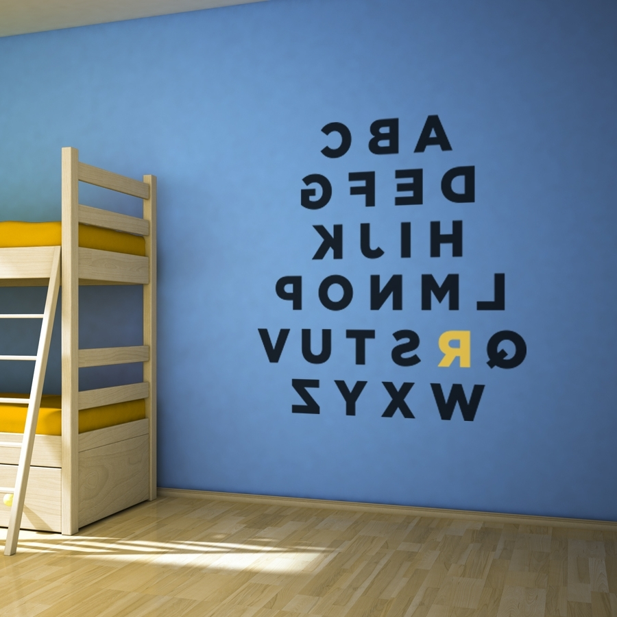 Alphabet Wall Art Within Fashionable Custom Alphabet Wall Art Decal (Gallery 1 of 20)