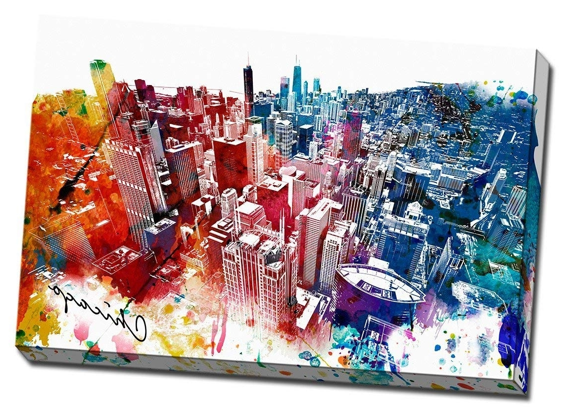 Amazon: Colorful Downtown Chicago Urban Painting Canvas Wall Art With Newest Chicago Wall Art (View 2 of 15)