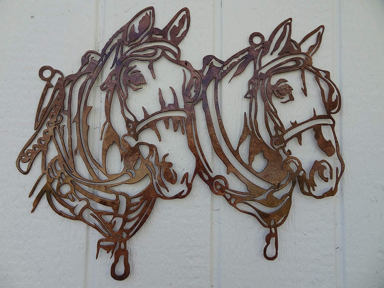 Amazon: Draft Horse Head Metal Wall Art Country Rustic Home Regarding Popular Horse Wall Art (Gallery 9 of 15)