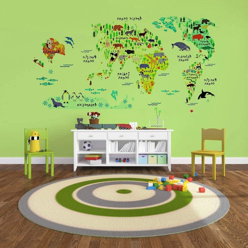 Amazon: Eveshine Animal World Map Wall Decals Stickers For Inside Recent World Map Wall Art For Kids (Gallery 5 of 20)