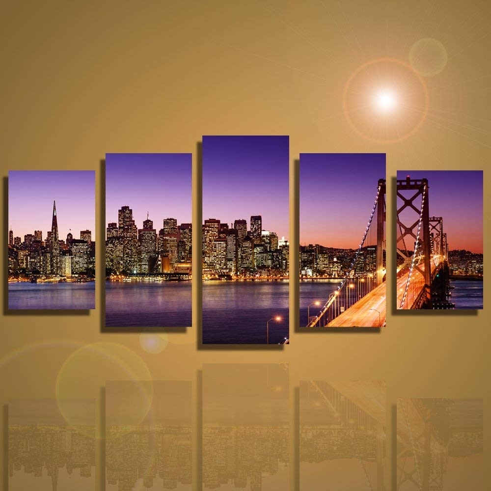Amazon: Framed 5 Panels San Francisco Bay Bridge Canvas Wall Art Throughout Favorite San Francisco Wall Art (Gallery 16 of 20)