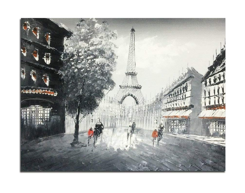 Amazon: Muzagroo Art Oil Paintings Hand Painted Paris Eiffel Regarding Well Known Paris Wall Art (View 3 of 15)