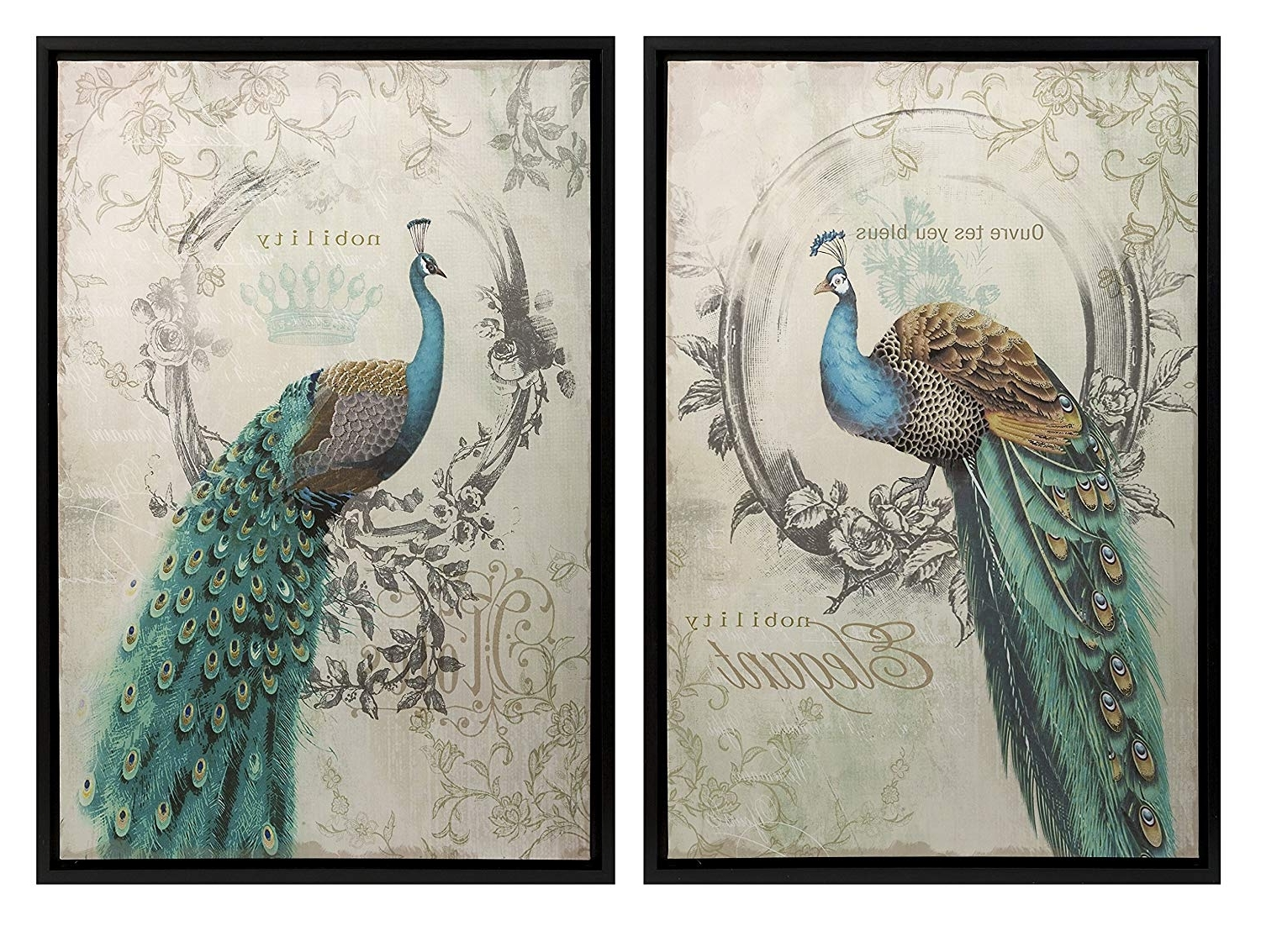 Amazon: Panache Peacock Art – Set Of 2: Wall Decor Stickers Pertaining To Popular Peacock Wall Art (View 12 of 15)