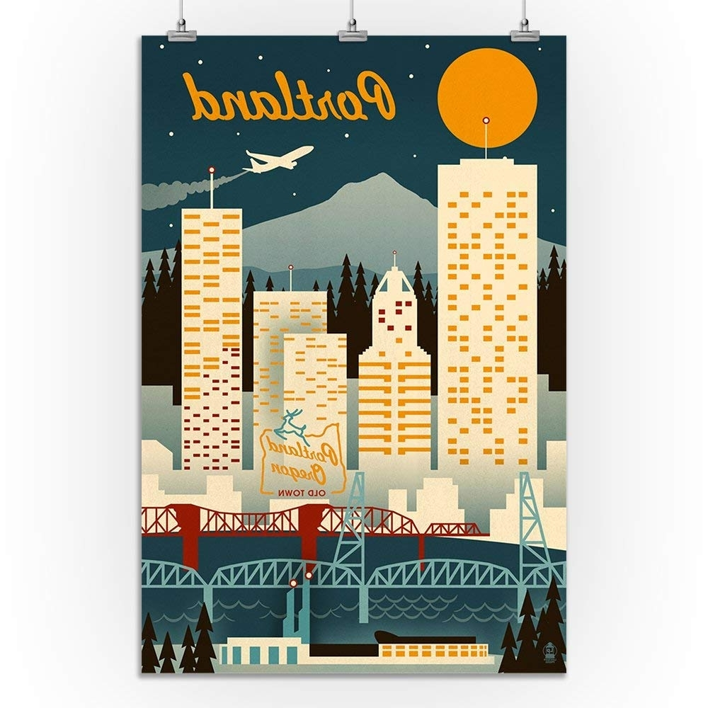 Amazon: Portland, Oregon – Retro Skyline (9X12 Art Print, Wall With Regard To Famous Portland Map Wall Art (View 2 of 20)