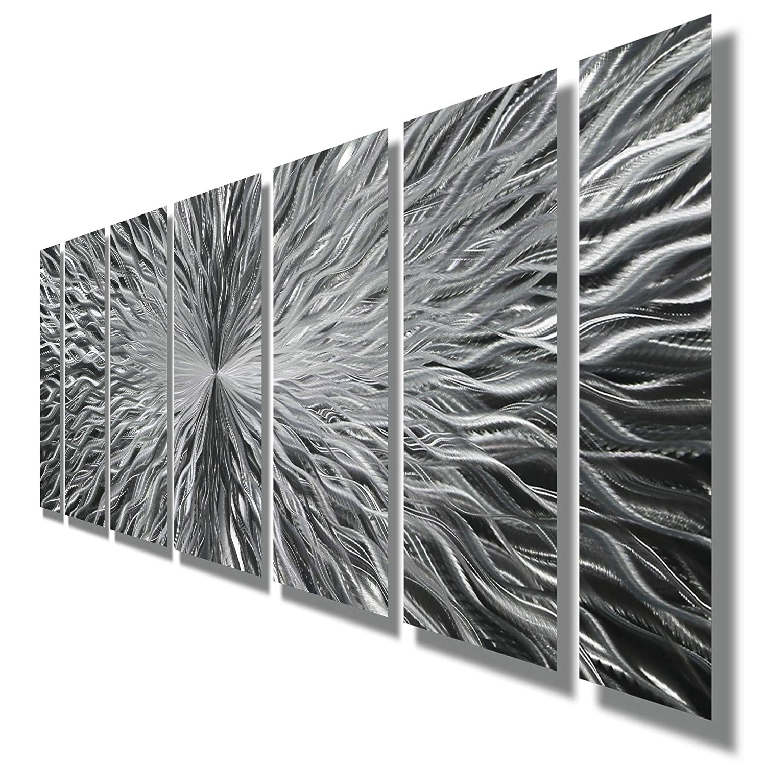 Amazon: Silver Contemporary Metal Wall Art – Abstract Home Decor Inside 2017 Contemporary Metal Wall Art (View 1 of 15)