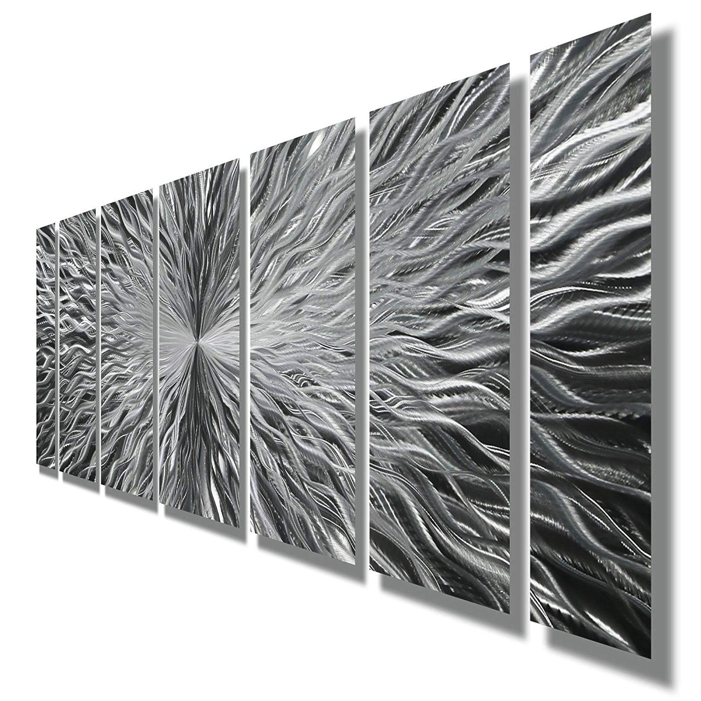 Amazon: Silver Contemporary Metal Wall Art – Abstract Home Decor Inside 2017 Contemporary Metal Wall Art (Gallery 4 of 15)