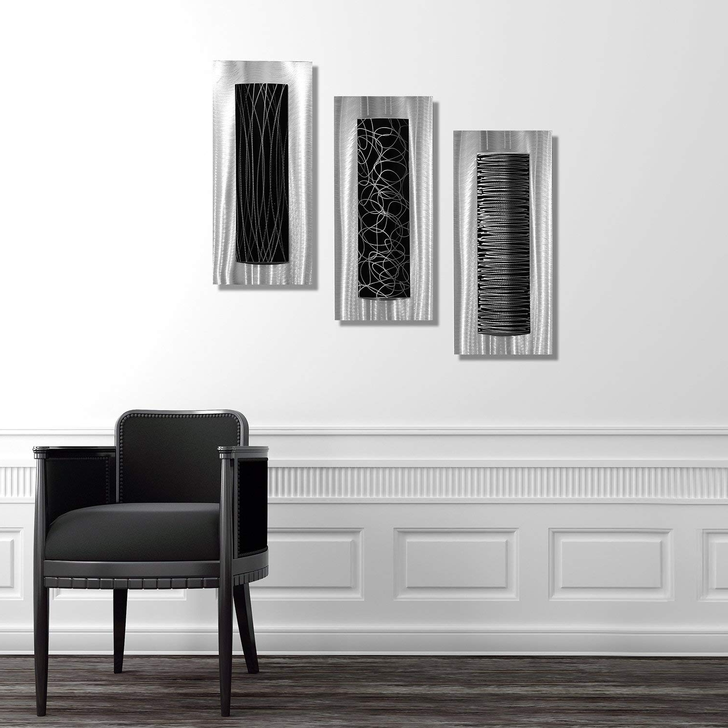 Amazon: Statements2000 Contemporary Black & Silver Abstract For Famous Black Wall Art (Gallery 6 of 20)