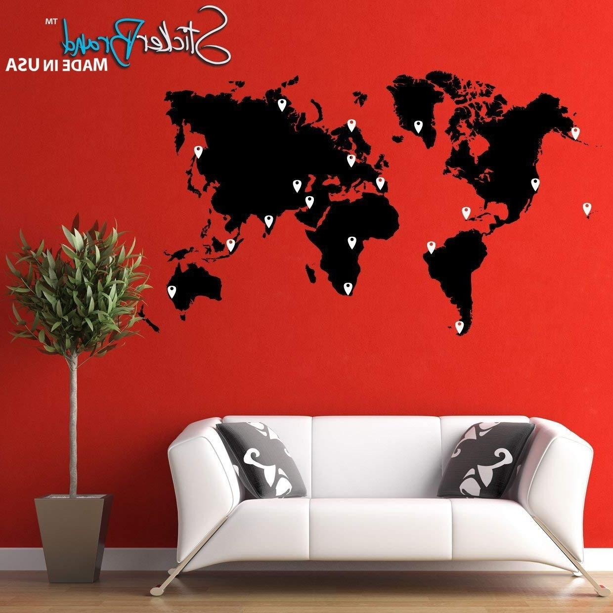 Amazon: Stickerbrand Vinyl Wall Art World Map Of Earth With Pin Within Most Up To Date Vinyl Wall Art World Map (Gallery 6 of 20)