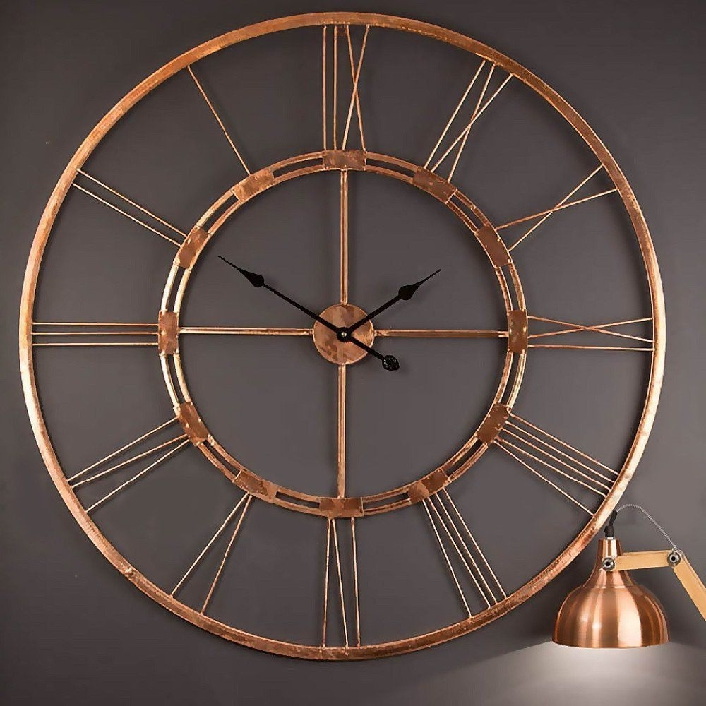 Amazonsmile: Handmade Large Copper Color Metal Wall Clock Metal Wall In Most Recent Copper Wall Art (View 2 of 15)