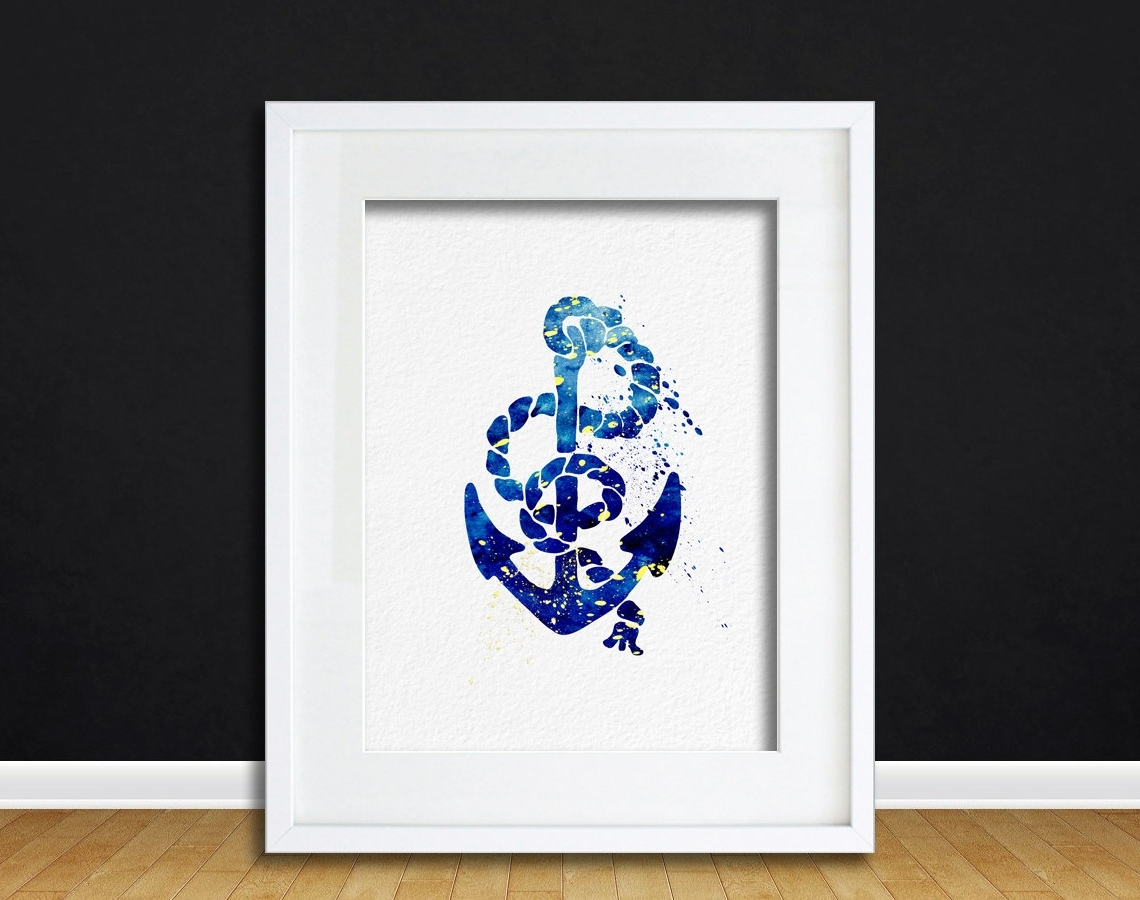 Anchor Wall Art With Regard To Fashionable Watercolor Art Anchor And Rope Gift Modern 8X10 Wall Art Decor (View 9 of 20)