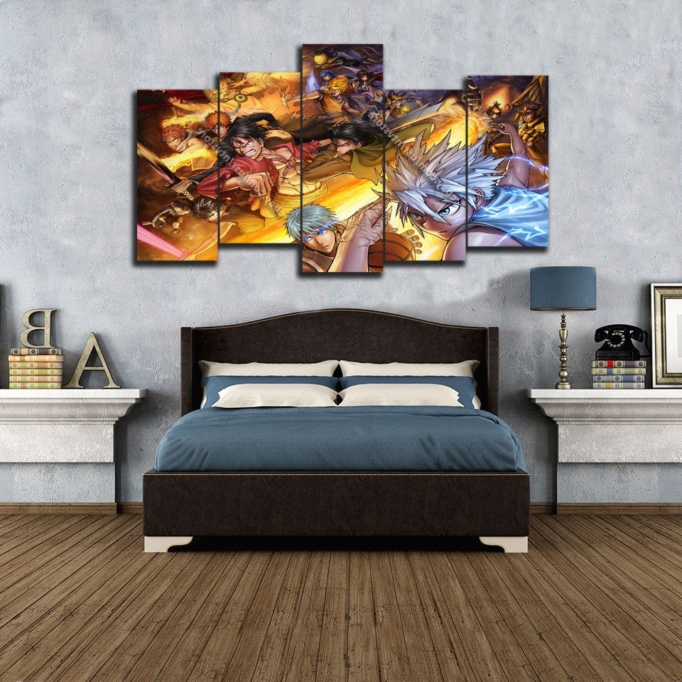 Anime Wall Art Canvas 5 Piece Print Home Decor Poster Manga Naruto Pertaining To Most Current Wall Canvas Art (View 2 of 15)