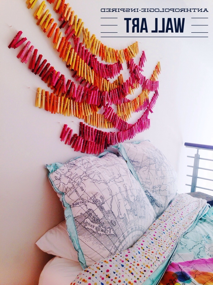 Anthropologie Wall Art Throughout Preferred Clothespin Wall Art • Your Biggest Fan, Grace (View 2 of 20)