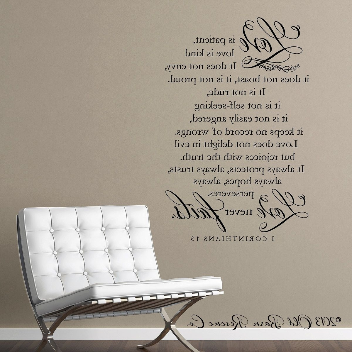Appealing Wall Art Decor Ideas Sofa Corinthians Chair White Pict Of Pertaining To Current Love Is Patient Wall Art (View 11 of 20)