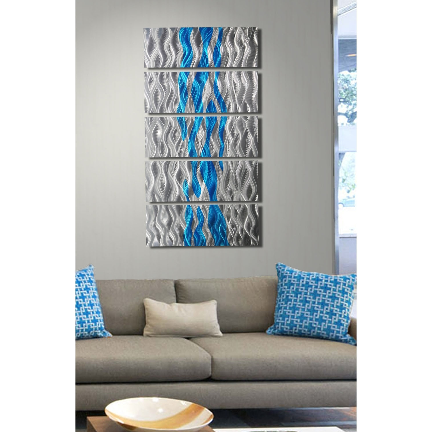 Aqua Oceana – Silver And Aqua Metal Wall Art – 5 Panel Wall Décor Throughout Well Known Turquoise Wall Art (View 3 of 20)