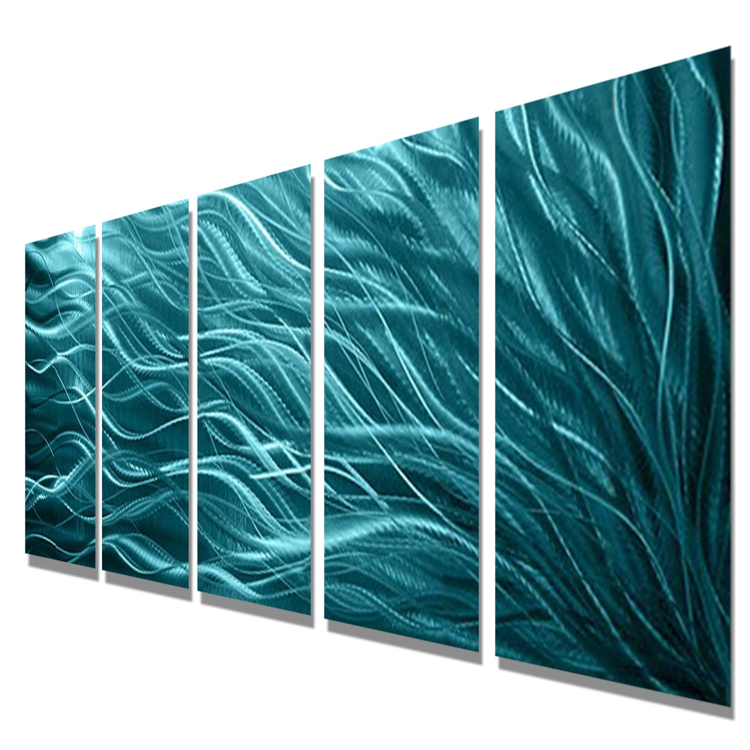 Aqua Sea Grass – Aqua Blue Metal Wall Art – 5 Panel Wall Décor With Popular Sea Glass Wall Art (View 15 of 15)