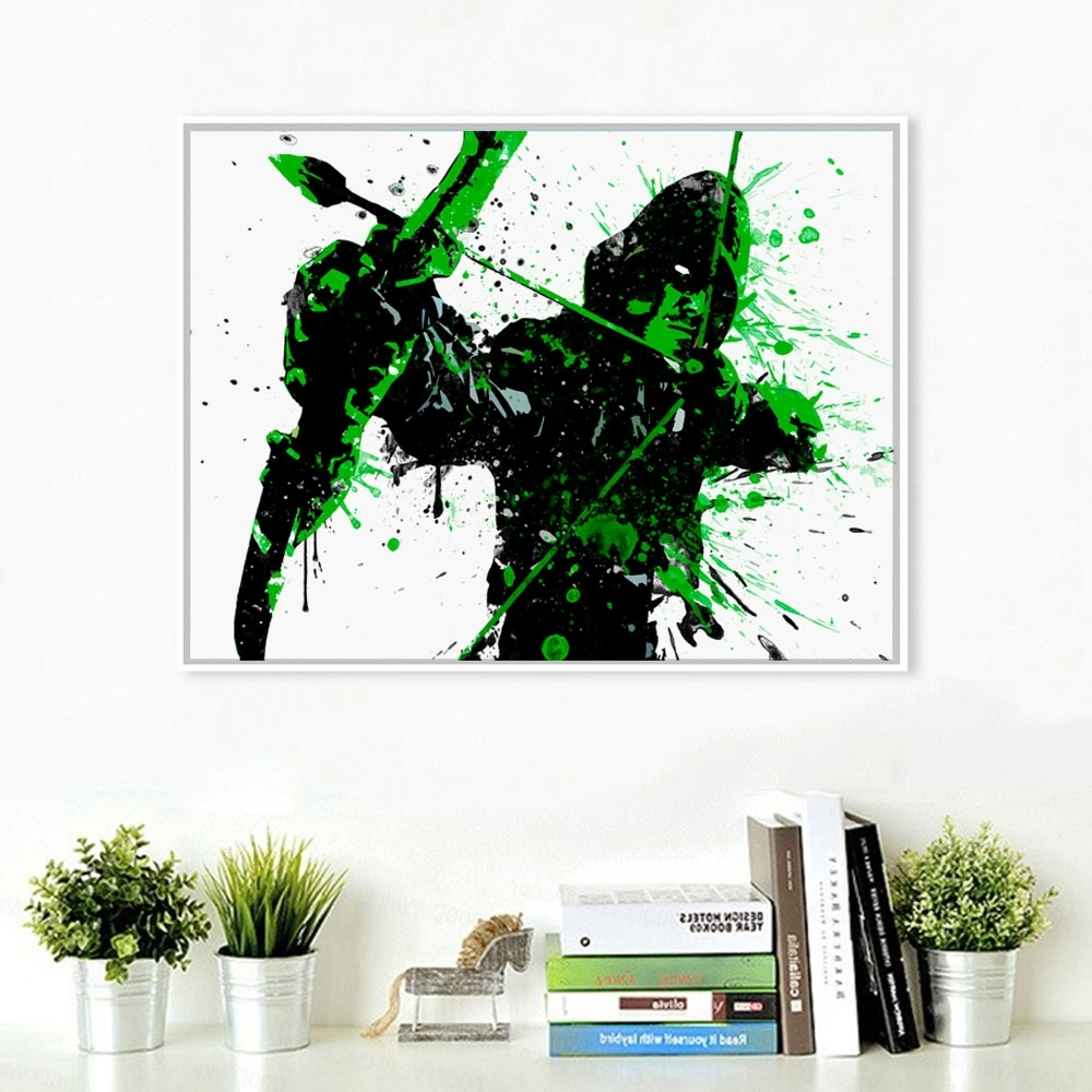 Arrow Wall Art Regarding 2017 Green Arrow Splatter Watercolor Art Print Nursery Decor Wall Art (View 4 of 20)
