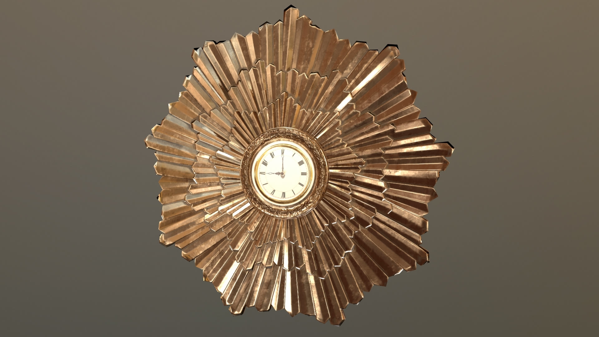 Art Deco Wall Clock Throughout Best And Newest Art Deco Wall Clock 3D Model (View 19 of 20)