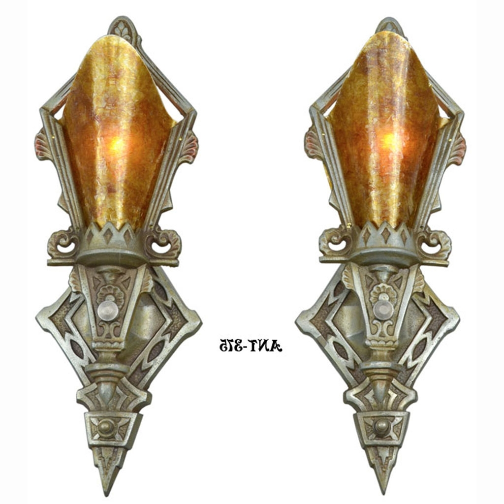 Art Deco Wall Sconces Throughout Latest Pair Of Antique Restored Art Deco Wall Sconces Lights Lighting (View 12 of 20)