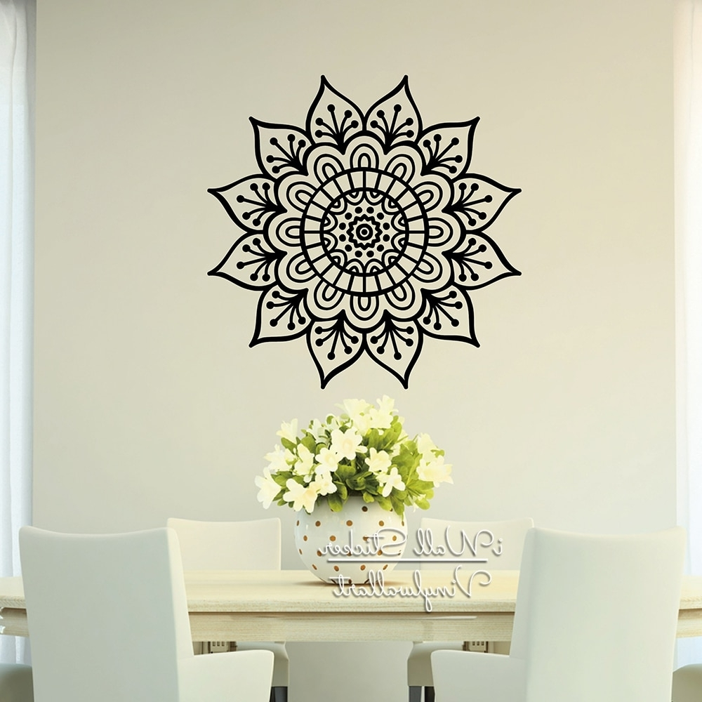 Art Wall Decors In Well Known Mandala Wall Sticker Modern Flower Wall Decal Diy Indian Wall Decors (View 4 of 20)