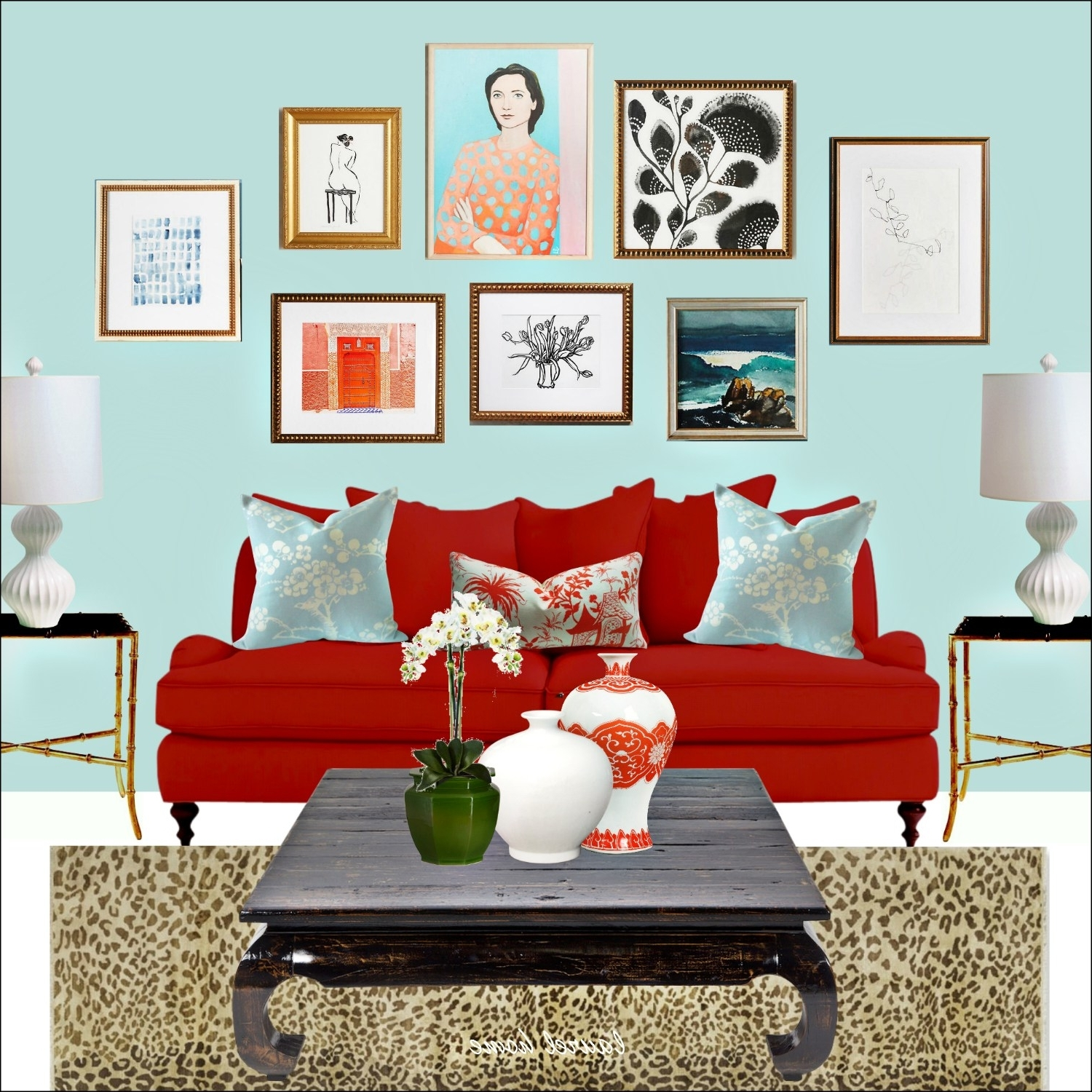 Artfully Walls Intended For Most Popular Anthropologie Art Wall With Artfully Walls Art And Red Sofa And (View 5 of 15)