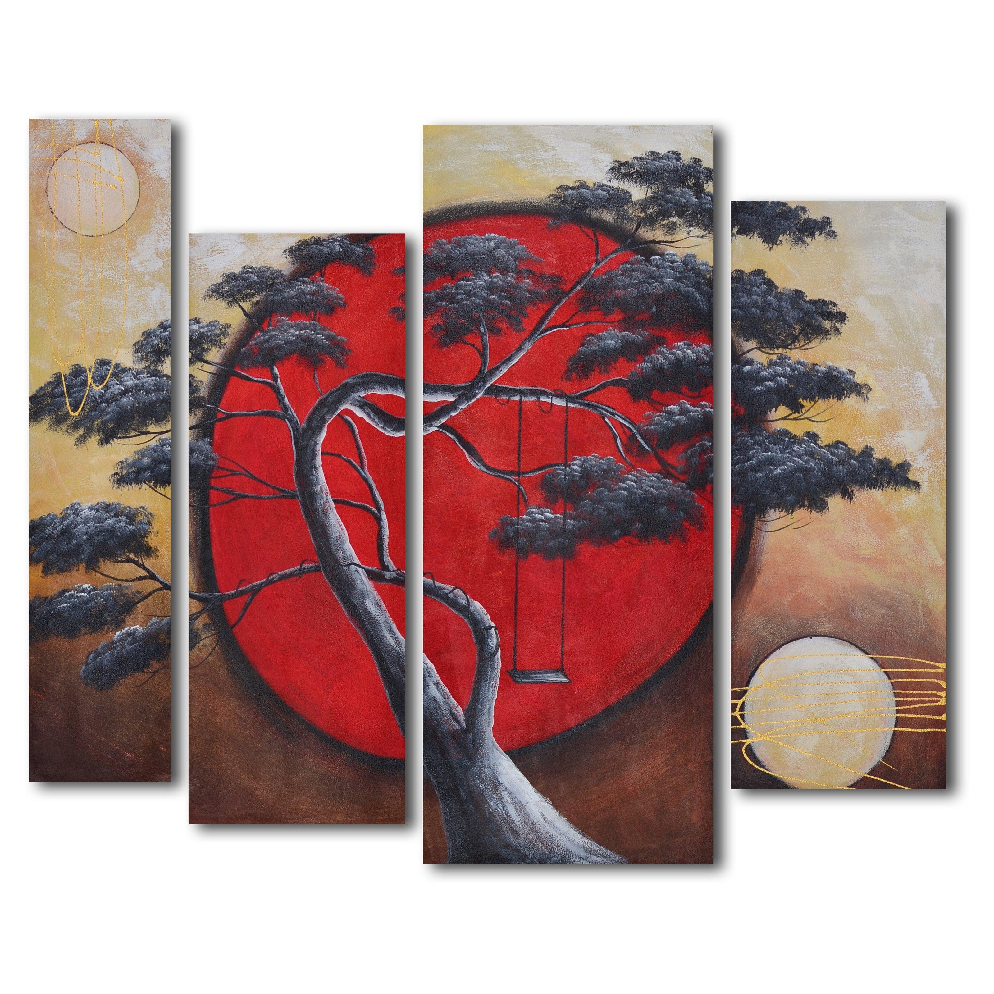 Asian Wall Art Regarding Best And Newest Crimson Sun / Midnight Moon 4 Piece Oil Painted Wall Art Set (View 3 of 15)