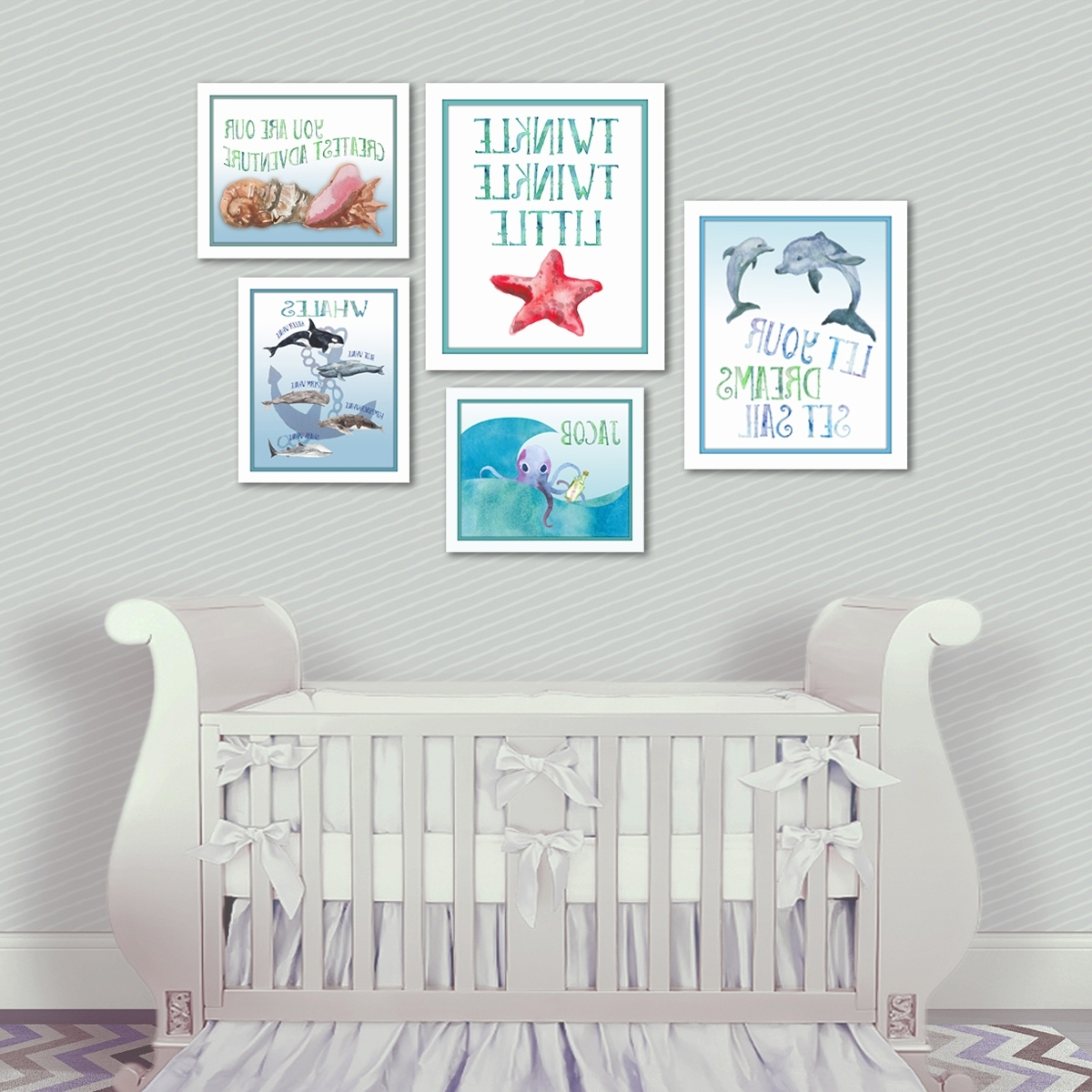 Baby Room Wall Art For Most Recently Released Nautical Nursery Dolphin Wall Art – Artsy Pumpkin (View 2 of 20)