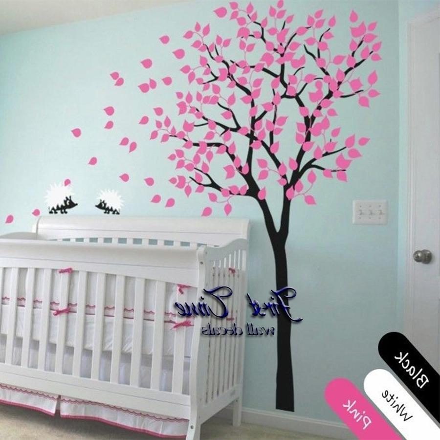 Baby Room Wall Art Inside Trendy Huge Tree Hedgehog Wall Sticker Nursery Wall Art Baby Children Kids (View 4 of 20)