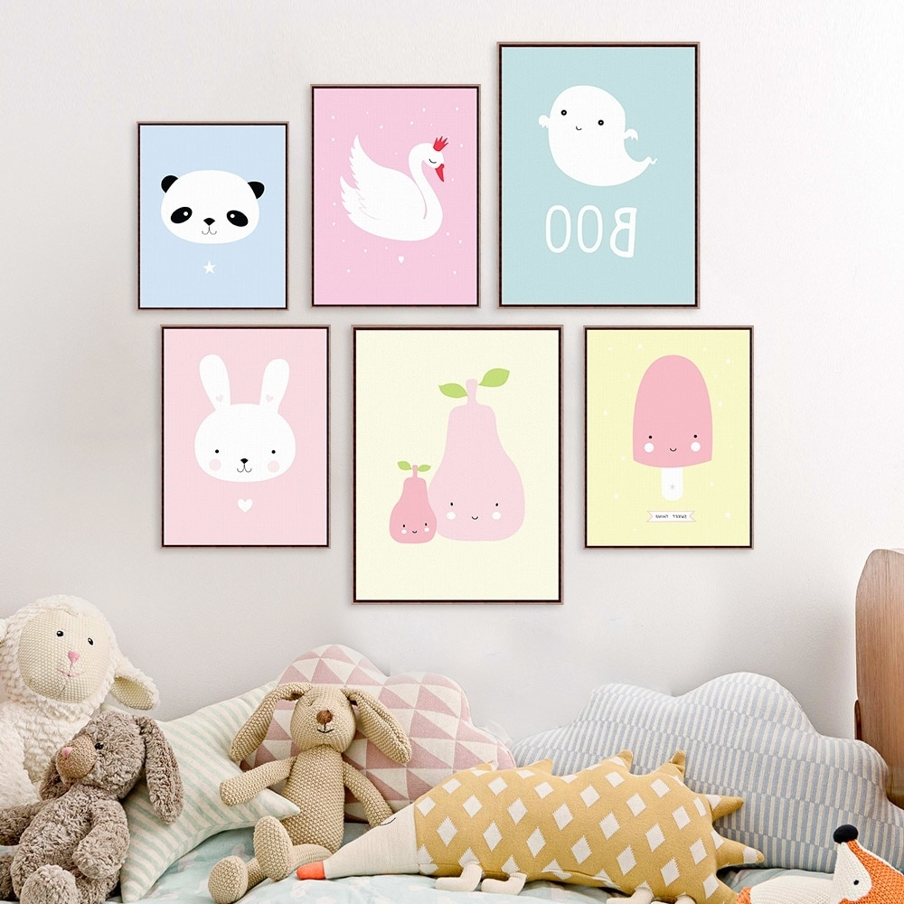 Baby Room Wall Art Pertaining To Best And Newest Kawaii Animal Panda Poster Print A4 Modern Nordic Cartoon Nursery (Gallery 10 of 20)
